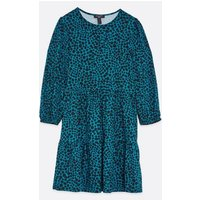 Tall Teal Animal Print Soft Touch Swing Dress New Look