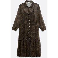 Noisy May Curves Black Leopard Print Shirt Dress New Look