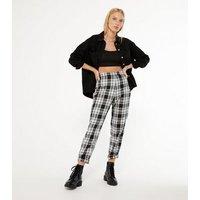 Black Check Slim Leg Trousers New Look