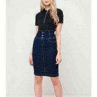 Urban Bliss Blue 3 Button Denim Pencil Skirt New Look