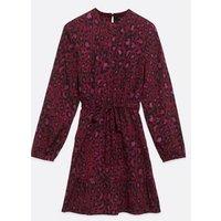 Tall Pink Leopard Print Tie Waist Dress New Look