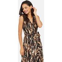 Mela Brown Animal Print Sleeveless Midi Wrap Dress New Look