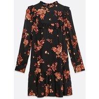 Black Floral Frill Trim Mini Dress New Look