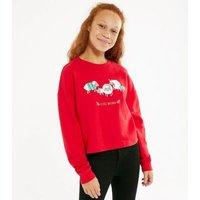 Girls Red Sheep Fleece Navidad Slogan Christmas Sweatshirt New Look