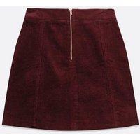 Burgundy Cord Zip Front Mini Skirt New Look