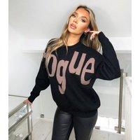 AX Paris Black Vogue Slogan Jumper New Look