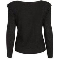 Petite Black Fine Knit Frill Trim Top New Look