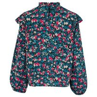 Petite Black Floral Frill Trim Puff Sleeve Blouse New Look