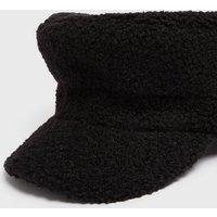 Black Teddy Baker Boy Hat New Look