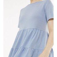 Pale Blue Tiered Peplum Jersey Top New Look
