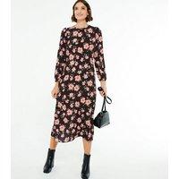 Black Floral Round Neck Long Sleeve Midi Dress New Look