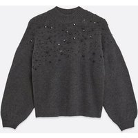 Petite Dark Grey Bead Embellished Jumper New Look
