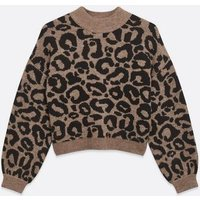 Petite Brown Leopard Print Jumper New Look