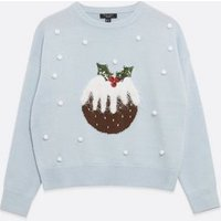 Petite Blue Christmas Pudding Bobble Jumper New Look