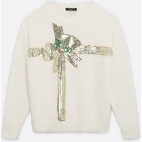 Petite White Fluffy Sequin Bow Christmas Jumper New Look