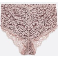 Curves Mid Pink Lace High Waist Briefs New Look