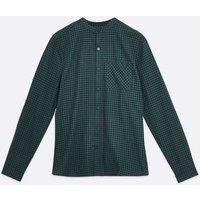 Men's Dark Green Check Grandad Collar Shirt New Look