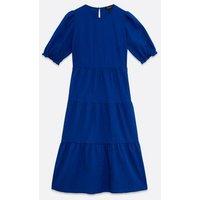 Bright Blue Puff Sleeve Smock Dress New Look