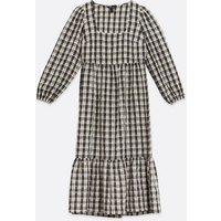 Off White Check Square Neck Tiered Smock Midi Dress New Look