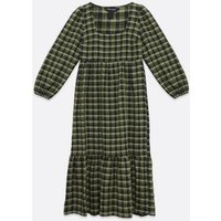 Green Check Square Neck Smock Midi Dress New Look
