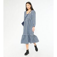 Blue Check Square Neck Tiered Smock Midi Dress New Look