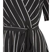 Black Stripe Short Sleeve Wrap Dress New Look