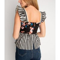 Miss Attire Black Floral Stripe Peplum Top New Look