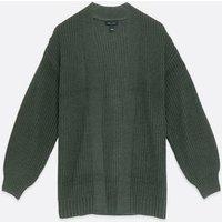 Dark Grey Chunky Knit Puff Sleeve Cardigan New Look