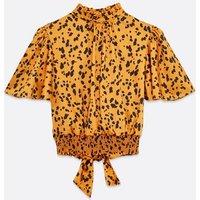 Mustard Spot Satin Shirred Tie Back Top New Look