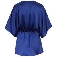 Blue Satin Twist Front Blouse New Look