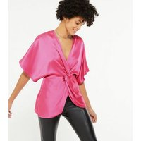 Bright Pink Satin Twist Front Blouse New Look