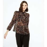 Brown Leopard Print Chiffon Tie Neck Blouse New Look