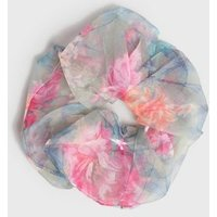 Green Floral Organza Oversized Scrunchie New Look