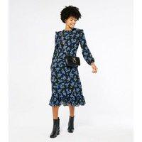 Black Floral Long Sleeve Tiered Midi Dress New Look