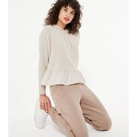 Cream Ribbed Knit Frill Trim Hoodie New Look