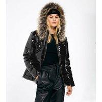 Cameo Rose Black High Shine Puffer Jacket New Look