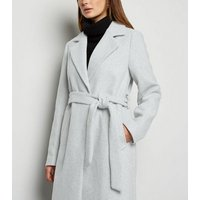Pale Grey Long Belted Coat New Look