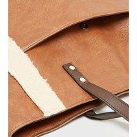 Light Brown Teddy Trim Tote Bag New Look