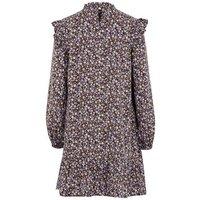 Black Floral High Neck Frill Shoulder Smock Dress New Look