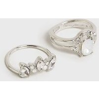2 Pack Silver Oval Gem Stacking Rings New Look