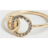 Gold Double Circle Diamante Ring New Look