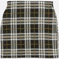 Petite Black Check Jersey Tube Skirt New Look