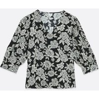 JDY Black Floral Puff Sleeve Top New Look