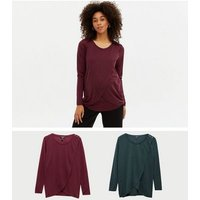 Maternity 2 Pack Teal and Burgundy Nursing Tops New Look