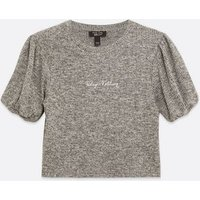 Girls Grey Ribbed Knit Slogan Puff Sleeve Top New Look