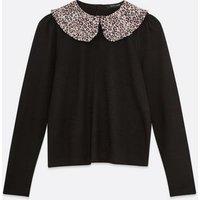 Black Leopard Print Collar Fine Knit Jumper New Look