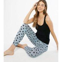 Black Heart Jogger Pyjama Set New Look
