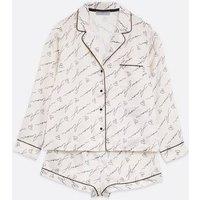 Off White Satin Amour Slogan Short Pyjama Set New Look