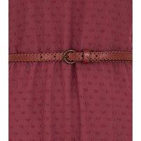 Rust Chiffon Spot Belted Midi Dress New Look