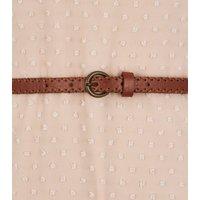 Pale Pink Chiffon Spot Belted Midi Dress New Look